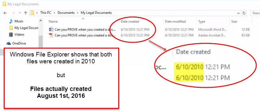 Windows File Explorer Creation Date Can Be Wrong! : Graphic by Forensic Notes