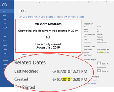 MS Word Metadata can be wrong!