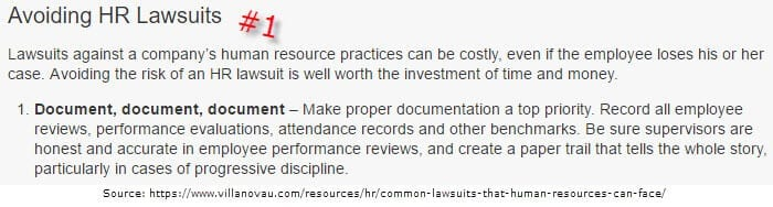 Document, Document, Document is the best advice to avoid lawsits