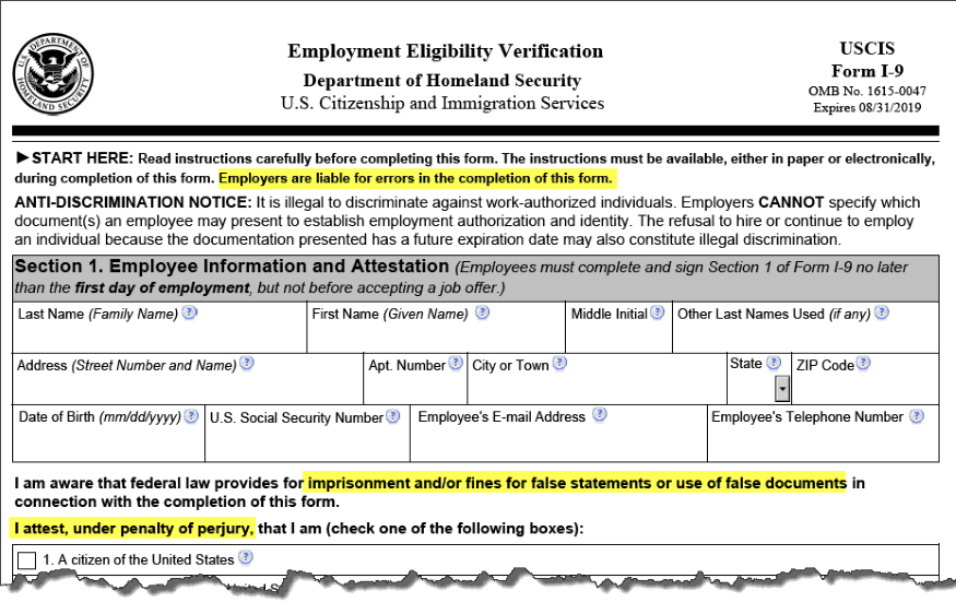 I-9 Form - Failure to properly fill out could result in personal liability