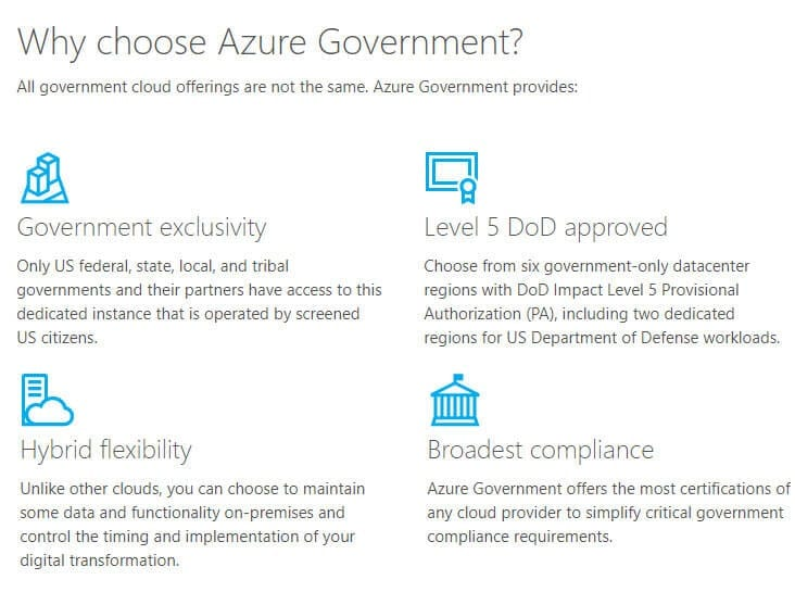 Azure Government is Level 5 DoD Approved
