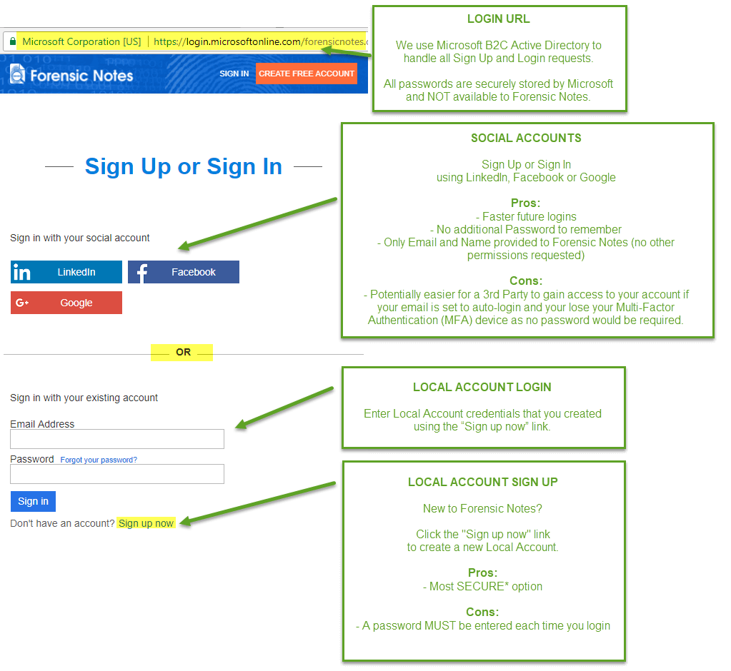 Azure Signup or Sign In Page