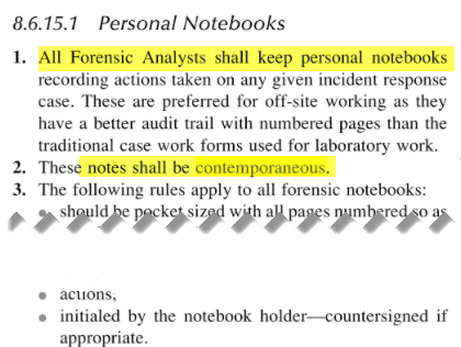 Personal Notebooks - Notes shall be contemporaneous